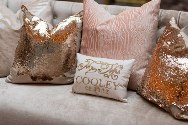 Pink wood grain pillow gold sequin pillow personalized mr and mrs pillow wedding date lounge area