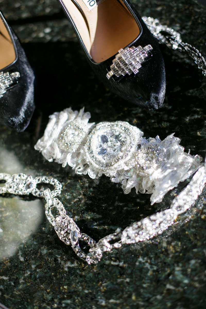 bridal wedding garter with crystal details