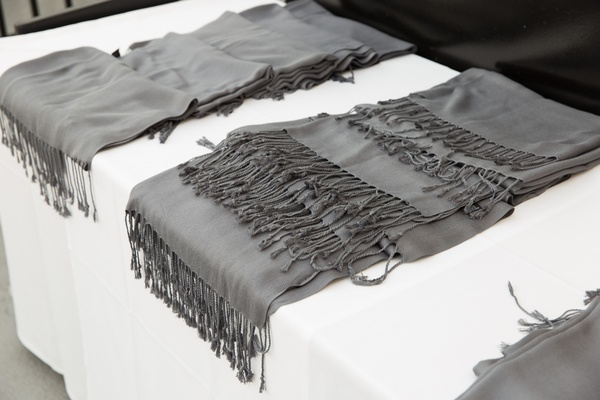 outdoor winter wedding grey pashminas for guests