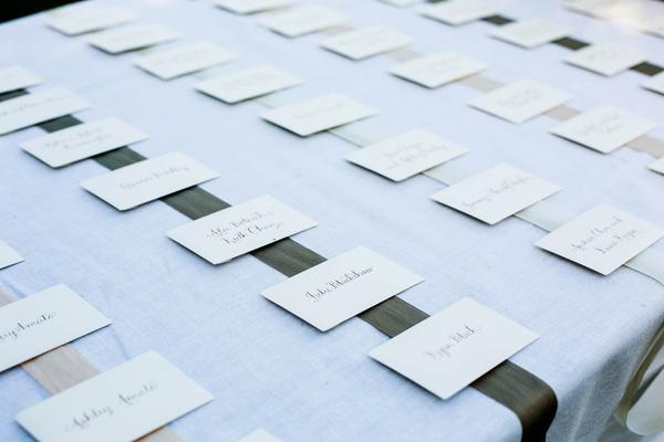 White envelope with black lettering on ribbons