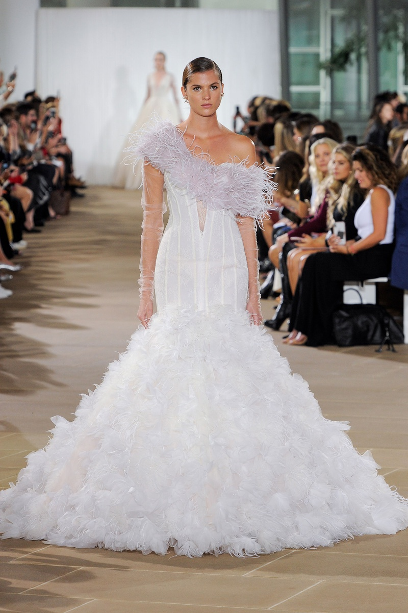 Ines Di Santo fall 2019 bridal collection wedding dress Freyja feathered trumpet skirt, corset