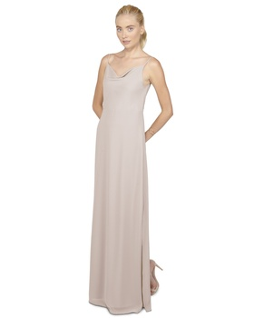 This simple column dress featuring a cowl neck and back is simple and sophistciaed- you can't go wro