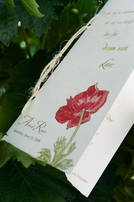 Poppy flower illustration on ceremony booklet