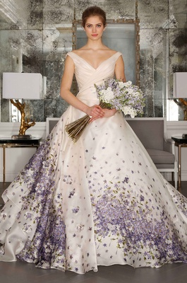 Romona Keveza Luxe Collection Bridal V Neck Ball Gown With Purple Flower Print On Skirt