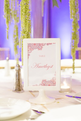south asian wedding inspiration, gemstone table names, illustrated table sign