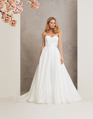 Caroline Castigliano 2018 bridal collection wedding dress Promise strapless ball gown sash train