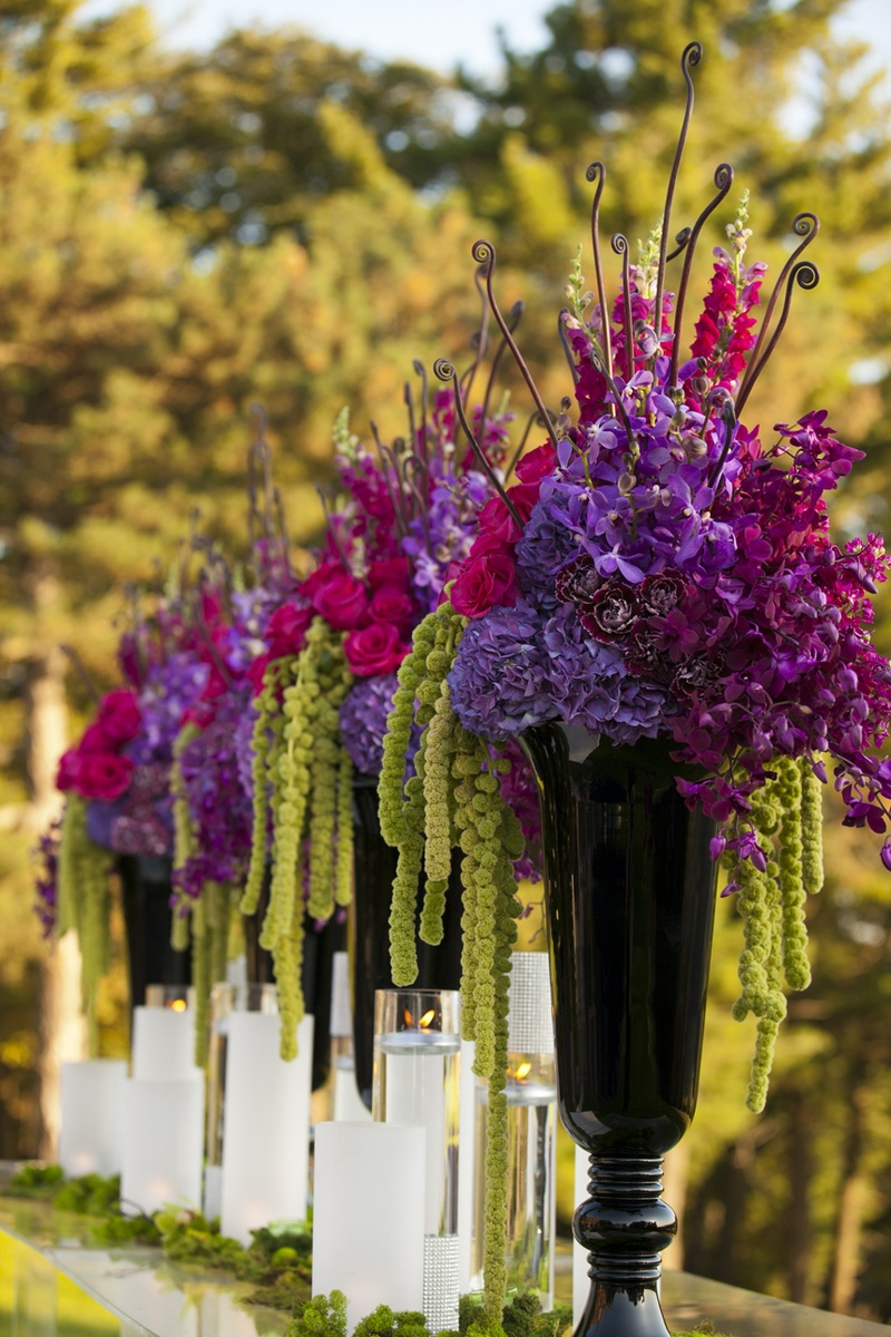 Wedding flowers ways to incorporate amaranthus inside weddings black urn vases with purple flowers and amaranthus izmirmasajfo Choice Image