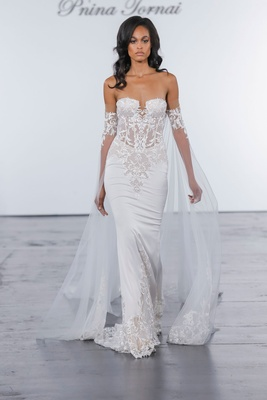 Pnina Tornai for Kleinfeld 2018 wedding dress fitted crepe gown guipure lace strapless sheer bodice
