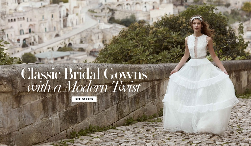 BHLDN wedding dresses new arrivals shot in Italy classic gowns with a modern twist