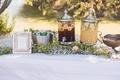 Silver clear dispensers of lemonade, iced tea, bucket of pellegrino, calligraphy sign Laura Hooper