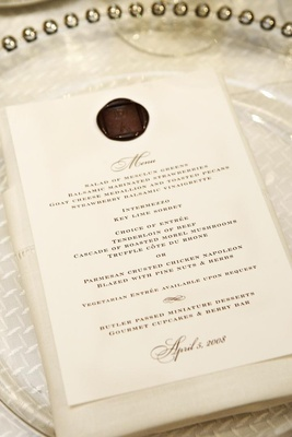 Wedding menu with custom brown wax seal