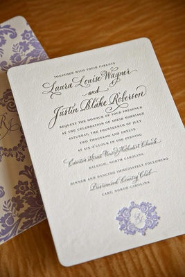 Wedding invites with rounded corners and monogram