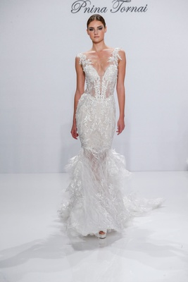 Pnina Tornai for Kleinfeld 2017 Dimensions Collection v neck mermaid wedding dress with long train