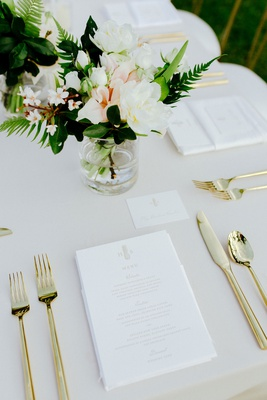 wedding reception place setting gold flatware fork knife spoon menu with pineapple monogram hawaii