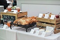 wedding food station catering ideas chicken and waffles with pairings herb butter honey jams