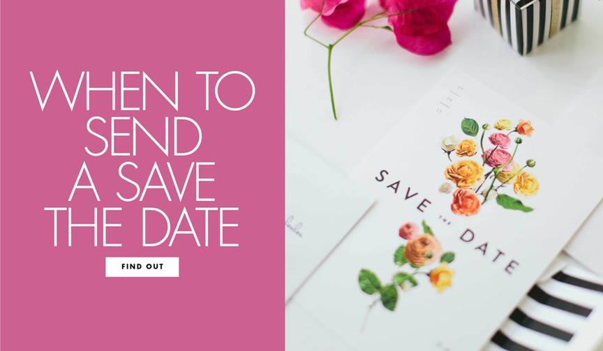 Find out when you should send a save the date before your wedding invitation suite