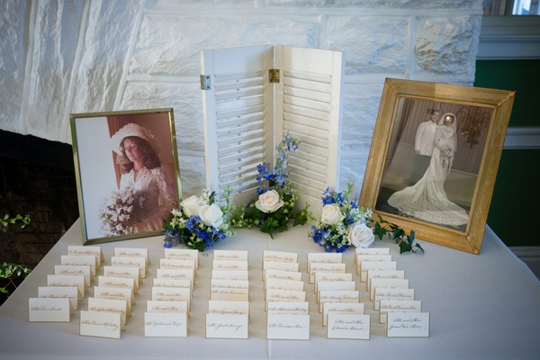 escort card table with framed old photos