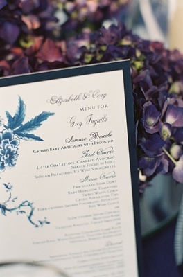 Rehearsal dinner menu with delicate painting