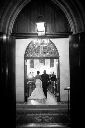Black and white photo of church wedding entrance