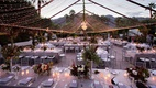 Outdoor wedding reception palm springs area la quinta string twinkle fairy lights in tent chandelier