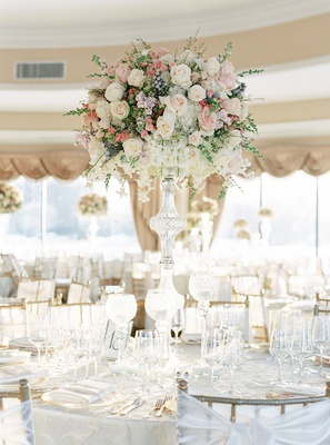 oheka castle wedding reception tall centerpiece crystal stand white pink rose orchid brunia berries