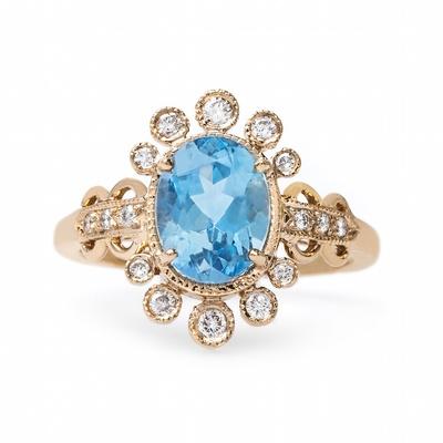 Claire Pettibone x Trumpet & Horn Ariel aquamarine engagement ring