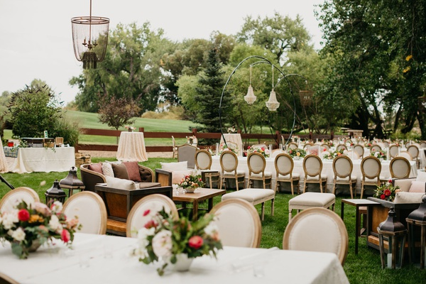 Romantic Whimsical Outdoor Garden Wedding Reception Inspiration