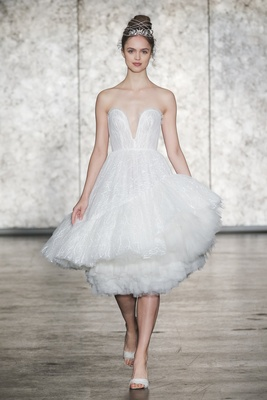 Inbal Dror Fall 2018 Strapless fully sequined tulle ballerina dress, short asymmetric can-can hem