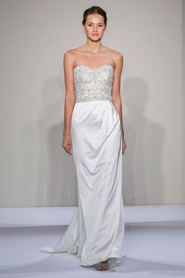 Dennis Basso 2016 strapless wedding dress sheath with embroidered bodice