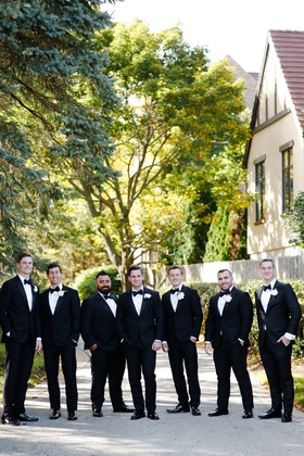 groom and groomsmen outdoor wedding portrait tuxedos for traditional wedding illinois