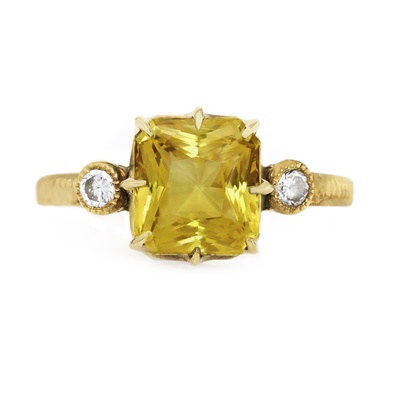 claire pettibone and trumpet and horn equinox engagement ring, yellow sapphire, radiant cut, gold