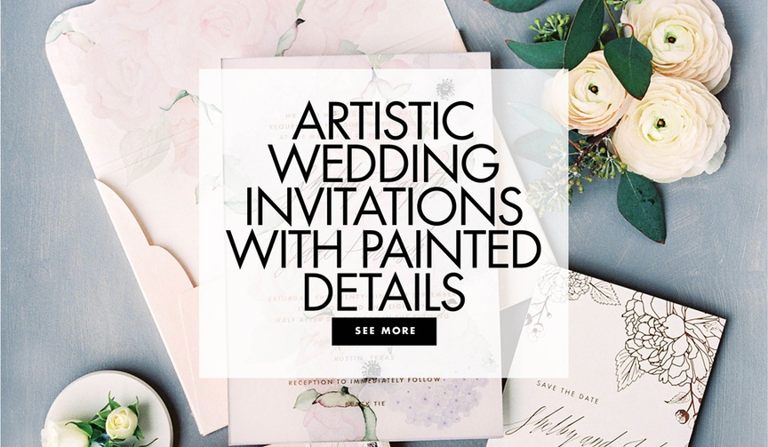 artistic wedding invitations with painted details watercolor designs