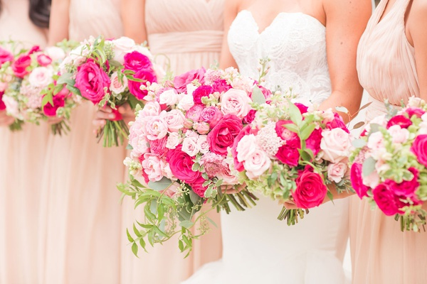 bridal bouquet and bridesmaid bouquets pink rose light pink hot pink greenery accents