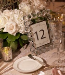 Table numbers with black border in clear jewel frame