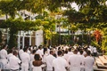hotel maya, white wedding, wedding guests in white, white party
