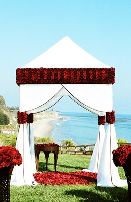 Bacara Resort white and red wedding with ocean views
