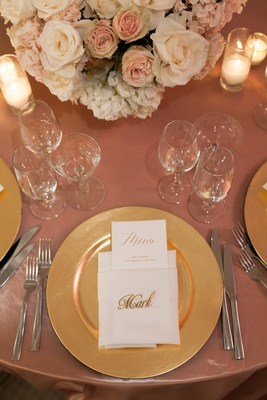wedding place card ideas, gold laser-cut names for place cards