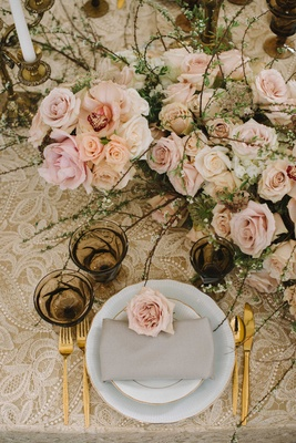light vintage taupe tablescape linen floral table runner shades of pink roses gold silverware