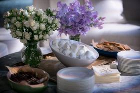 Wedding dessert ideas smore station chocolate marshmallow marshmellow graham cracker monogram napkin