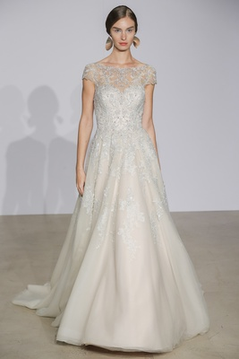 dfde3a40014 Justin Alexander Fall 2018 Tulle A-line gown with illusion boat neckline