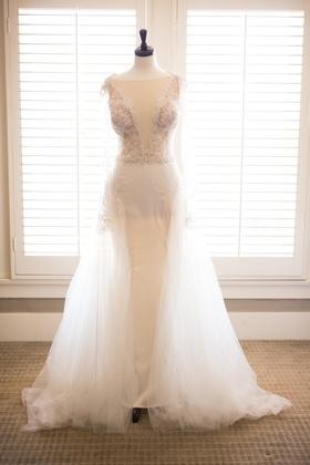 sheath gown overskirt plunging neckline galia lahav designer wedding revealing slits sleeves