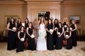 Jennifer Stone with bridesmaids in long black bridesmaid dresses by Jill Stuart