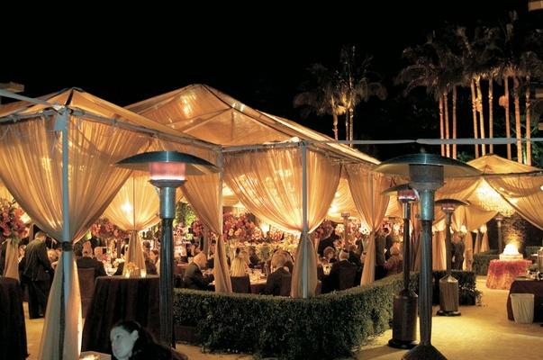 California tent wedding at night with heaters