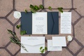 classic blue white gold invitation suite wedding calligraphy