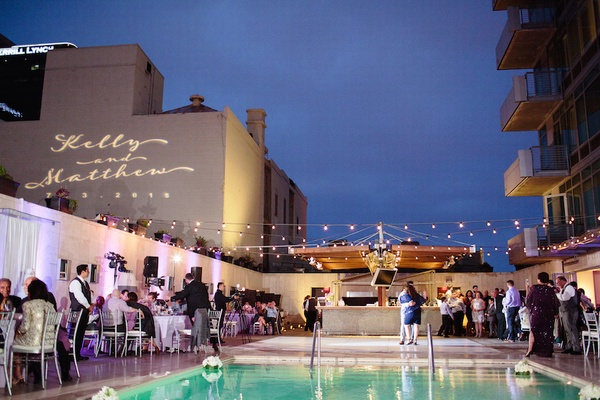 Wedding reception by pool on the roof of the Hotel Palomar San Diego
