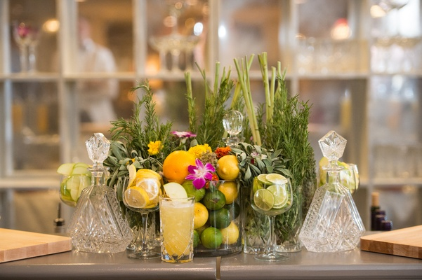 elaborate bar display with all drink garnishes