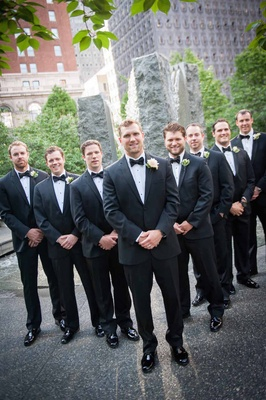 running back Brian Leonard in black tuxedo and rose boutonniere, groomsmen, Jordan Palmer