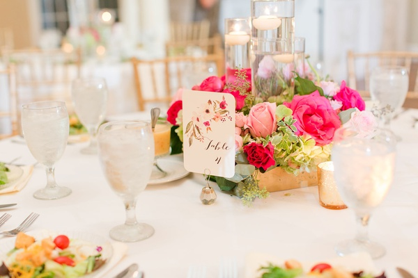 wedding reception low centerpiece floating candles gold box pink rose greenery pink flower table