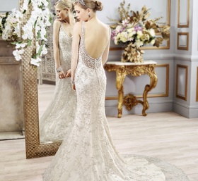 Sexy wedding dress with low scoop back and beading