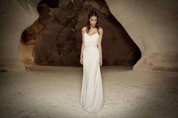 Limor Rosen Alma wedding dress sheath with beaded straps chiffon crepe skirt Tribal Collection
